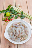 Ingredient for Tom Yum Kung or spicy soup with shrimp, thai cuis Stock Photography