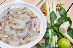 Ingredient for Tom Yum Kung or spicy soup with shrimp, thai cuis Stock Photos