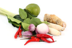 Ingredient for Tomyam set (Thai food) Stock Photos