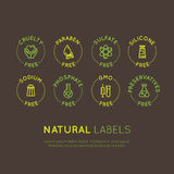 Ingredient Warning Label Icons. Allergens Gluten, Lactose, Soy, Corn, Diary, Milk, Sugar, Trans Fat. Vegetarian and Organic symbol. Vector Style Illustration Stock Images