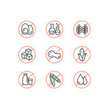 Ingredient Warning Label Icons. Allergens Gluten, Lactose, Soy, Corn, Diary, Milk, Sugar, Trans Fat. Vegetarian and Organic symbol. Vector Style Watercolor Royalty Free Stock Images