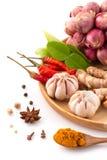 Ingrediente da erva da culinária tailandesa tradicional do alimento na placa de madeira Foto de Stock Royalty Free