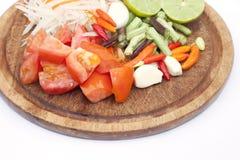 Ingrediente da salada da papaia isolado imagens de stock