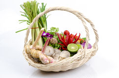 Ingrediente da sopa picante tailandesa (nome tailandês de tom yum). Imagens de Stock