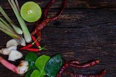 Ingrediente de alimento tailandês para Tom yum no fundo de madeira velho fotografia de stock royalty free