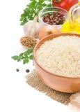 Ingrediente del arroz y alimentario en blanco Fotografía de archivo libre de regalías