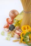 Ingrediente della verdura e degli spaghetti per cucinare Immagine Stock