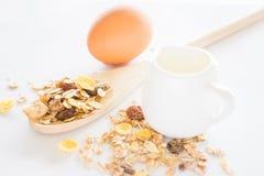 Ingrediente di nutrizione dei muesli latte ed uovo Fotografie Stock Libere da Diritti