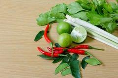 Ingrediente di yum di Tom, alimento piccante tailandese Fotografia Stock Libera da Diritti
