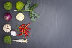 Ingrediente ou alimento cru para o alimento tailandês Como Tom-Yum-Kung e caril Fotografia de Stock
