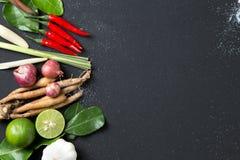 Ingrediente tailandês tradicional da erva da culinária do alimento da sopa picante de Tom Yum no fundo preto imagens de stock royalty free