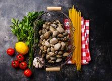 Ingredientes alimentarios crudos para cocinar el vongole del alle de los espaguetis Fotos de archivo libres de regalías