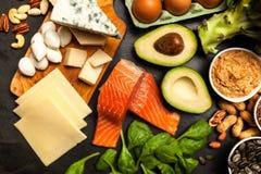 Ingredientes alimentarios de la dieta del Keto Foto de archivo