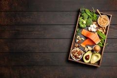 Ingredientes alimentarios de la dieta del Keto Imagen de archivo