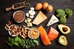 Ingredientes alimentarios de la dieta del Keto Imagen de archivo libre de regalías