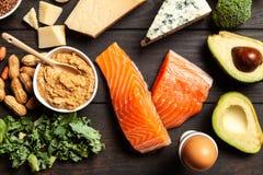 Ingredientes alimentarios de la dieta del Keto Imágenes de archivo libres de regalías
