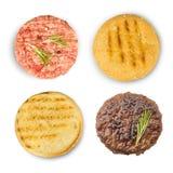 Ingredientes bolo e costoleta para cozinhar o hamburguer imagem de stock
