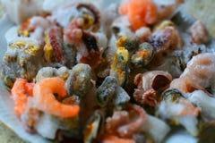 Ingredientes congelados del marisco Fotos de archivo libres de regalías