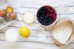 Ingredientes crudos: las bayas, harina, huevos, mantequilla, limón, agua, azúcar, sal para cocinar la empanada de la baya en el f fotografía de archivo