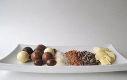 Ingredientes crudos para hacer el chocolate Fotografía de archivo libre de regalías