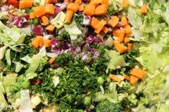 Ingredientes da salada dos legumes frescos de Cutted na placa de corte Fotos de Stock