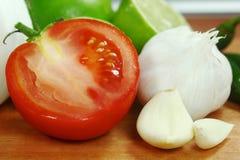 Ingredientes da salsa do abacate, do coentro, dos tomates e das pimentas Imagens de Stock