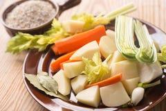 Ingredientes da sopa da cevada do polonês de Krupnik Imagem de Stock Royalty Free
