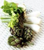 Ingredientes da sopa da alcachofra Fotografia de Stock Royalty Free