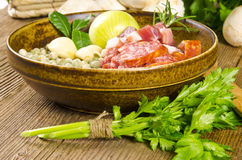 Ingredientes da sopa de ervilha Fotografia de Stock
