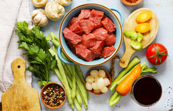 Ingredientes de alimento - carne, vegetais Fotografia de Stock Royalty Free