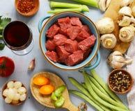 Ingredientes de alimento - carne, vegetais Foto de Stock Royalty Free