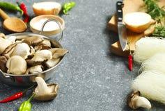 Ingredientes de alimento: cogumelos de ostra, pimentos e macarronetes de arroz Imagem de Stock