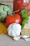 Ingredientes de alimento italianos Imagens de Stock Royalty Free