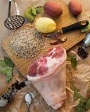 Ingredientes de alimento para um prato da carne Fotografia de Stock