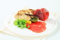 Ingredientes de Carpaccio da carne Fotos de Stock Royalty Free