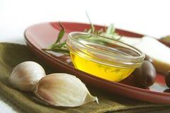 Ingredientes de cocinar mediterráneos Imágenes de archivo libres de regalías