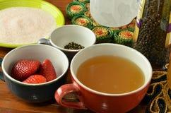 Ingredientes de consumición azucarados del arbusto del vinagre de la fruta Imagen de archivo