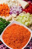 Ingredientes de creme da sopa da lentilha Imagem de Stock