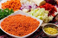 Ingredientes de creme da sopa da lentilha Imagens de Stock