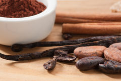 Ingredientes de la bebida del cacao imágenes de archivo libres de regalías
