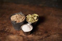 Ingredientes de la cerveza del arte fotografía de archivo
