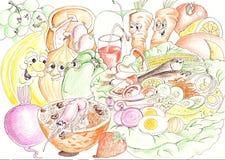 Ingredientes de la ensalada stock de ilustración