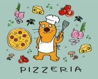 Ingredientes de la pizza con un carácter del gato del cocinero libre illustration