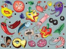 Ingredientes de la pizza de los niños divertidos stock de ilustración