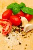 Ingredientes de la salsa de pastas Imagen de archivo libre de regalías