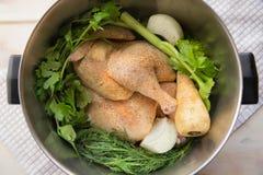Ingredientes de la sopa de pollo Fotografía de archivo libre de regalías