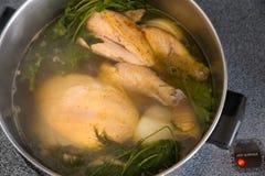 Ingredientes de la sopa de pollo Fotos de archivo libres de regalías