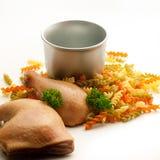 Ingredientes de las pastas del pollo Imágenes de archivo libres de regalías