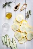 Ingredientes de los Antipasti del calabacín Fotos de archivo
