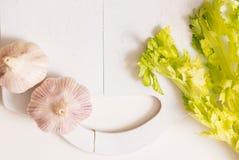 Ingredientes de Russia salsa e alho do aipo preparando o alimento, comer saudável Copie a opinião superior do espaço Fotografia de Stock